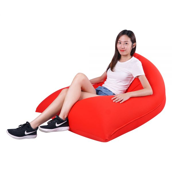 red spandex lounger bean bag