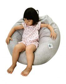 cuddlee bean bag - gaa gaa grey - context with child